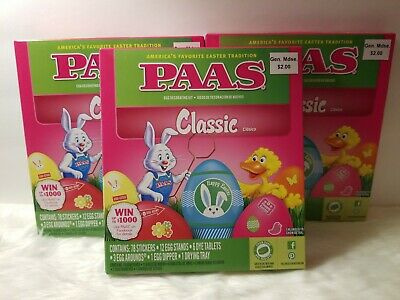 3 Boxes PAAS Classic Easter Egg Decorating Kits NEW use Arts & Crafts or Eggs