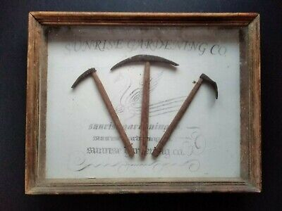 Antique gardenalia.Boxed advert showing tools to be had of Sunshine Gardening co