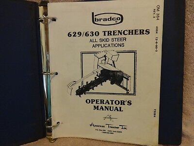 Bradco Trenchers Operators Manual For 629630 Trencher In Protective Binder
