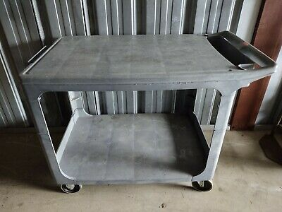 Rubbermaid 4525 Flat Shelf Plastic Service Utility Cart 44l 25w 33h Euc