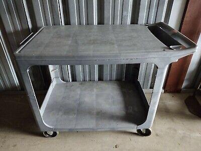 Rubbermaid 4525 Flat Shelf Plastic Service Utility Cart 44l 25w 33h Euc