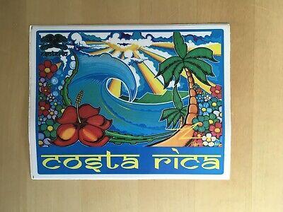 """Palm Beach Flower (Costa Rica Surf Art Sticker NEW 5.25""""x4"""" Hibiscus Waves Palm Beach Flowers Sun  )"""