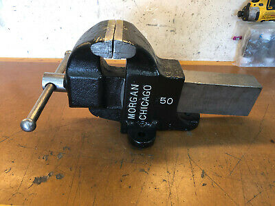 Vintage Morgan Chicago 50 Bench Vise 5 Jaws Opens Up To 8-12 Wide 71 Lbs.