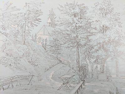 Rippoldsau - Kapelle Meisterblatt - Original Zeichnung aus dem Jahr 1835 - RAR