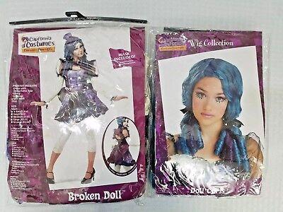 California Costume Broken Doll Adult Women Halloween Costume SZ XS 4-6 with WIG