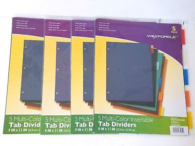 20 Of 3-ring Binder Tab Dividers - Back To School - Pocketed Write Erase Index