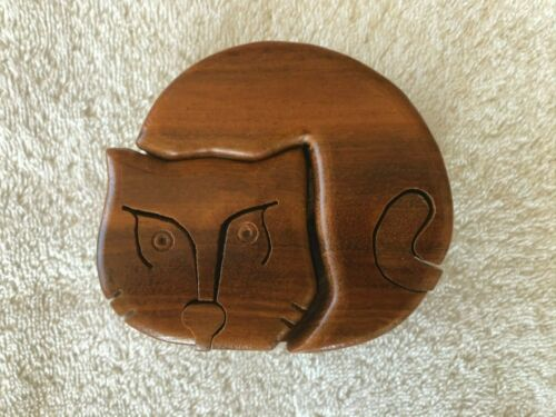 "Wooden CAT Shaped Puzzle Box with 2 Separate Secret Compartments  3 1/2"" Round"