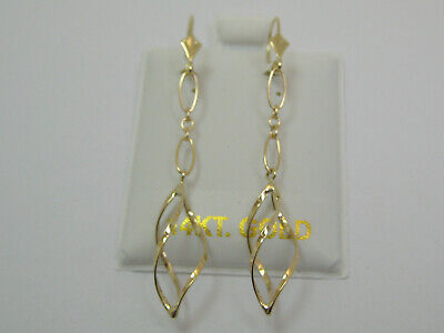 14k Gold Linked Dangle (14k Yellow Gold Link Chain Lever Back Dangle Earrings Style 801 )