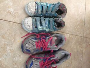 Girl toddler size 13 new balance sneakers sketchers 10
