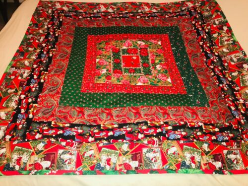 """New Very Bright Handmade Patchwork Christmas Quilt 50"""" x 50"""""""