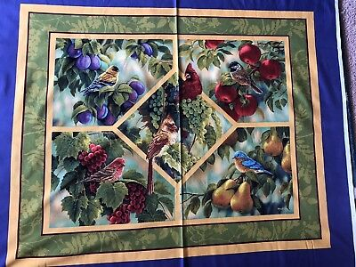 "Cotton Quilt Fabric Wild Wings Wall Hanging Bird Sanctuary Millette 35"" x 44"""