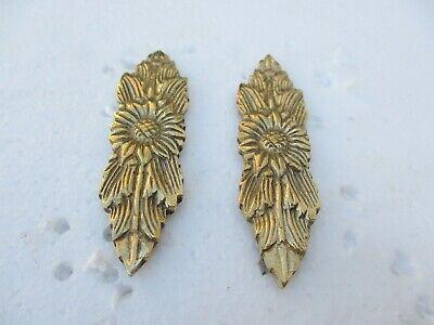 "Antique Brass Furniture Ormolu Hardware Leaf Floral Mount French Flowers Old 12/"""