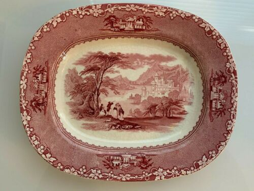 Antique Jenny Lind Red Oval Platter C.M. & S. Charles Meigh England