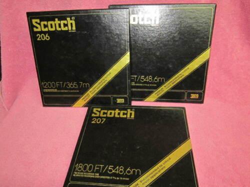 """3 Reels SCOTCH 206 & 207 Tape 1200 & 1800 Ft 7""""  to open reel"""