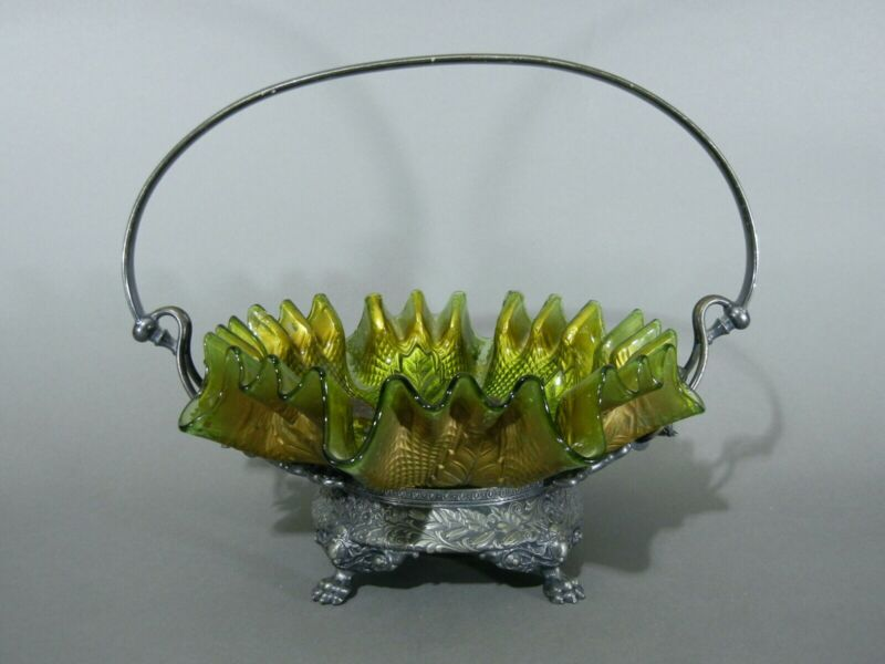Antique Goofus Glass Northwood Netted Roses Silverplate Bride