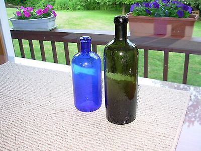 cobalt blue poison & olive green Bitters bottle - add color to your collection!