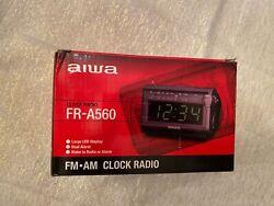 AIWA  AM/FM Stereo Dual Alarm Clock Radio FR-A560 with Top 5/8, Black