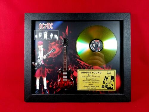 Angus Young ACDC Guitar Tribute Shadow Box Displayed with Golden CD