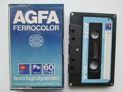 AGFA VINTAGE AUDIO TAPE 60+6 FERROCOLOR high dynamic I CASSETTE W GERMANY blue