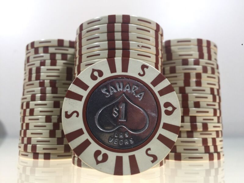 BEAUTIFUL RARE SAHARA $1 CASINO POKER CHIP METAL INSERT LAS VEGAS, NEVADA