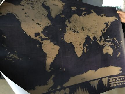 World map scratch poster art gumtree australia stirling area scratching map gumiabroncs Gallery