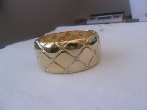 Joan Rivers Wide Gold Tone & Crystal Cuff Bracelet