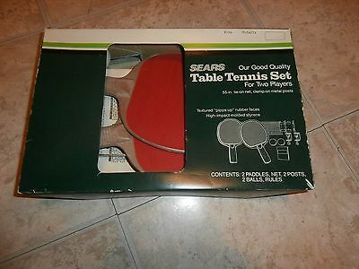 Vintage Sears Table Tennis Set Ping Pong 2 PLAYERS IN BOX INSTRUCTIONS