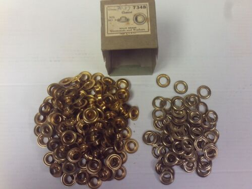 VINTAGE ONE GROSS (144) # 3 AUVECO Solid Brass Grommets & Washers MADE IN U.S.A
