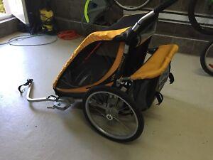 Chariot double pour vélo, rollerblade ou marche