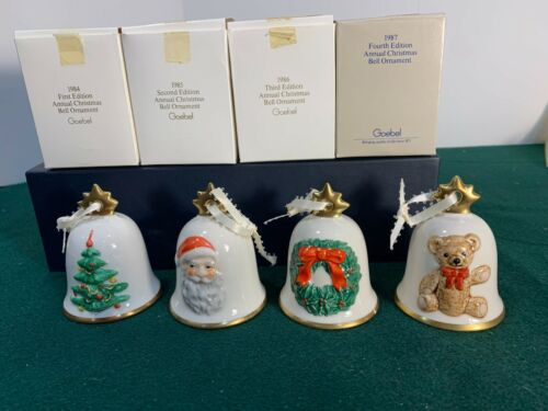 Goebel - Set of Four (4) Christmas Bell Ornaments 1984 - 1987
