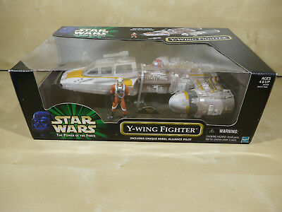 STAR WARS POTF2 Y-WING FIGHTER WITH REBEL ALLIANCE PILOT MISB