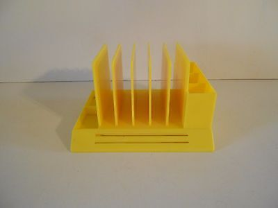 Vintage Mid Century 1960s Max Klein Desk Organizer Paper File Yellow Plastic