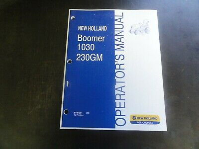 New Holland Boomer 1030 Tractor 230gm Operators Manual  87487351