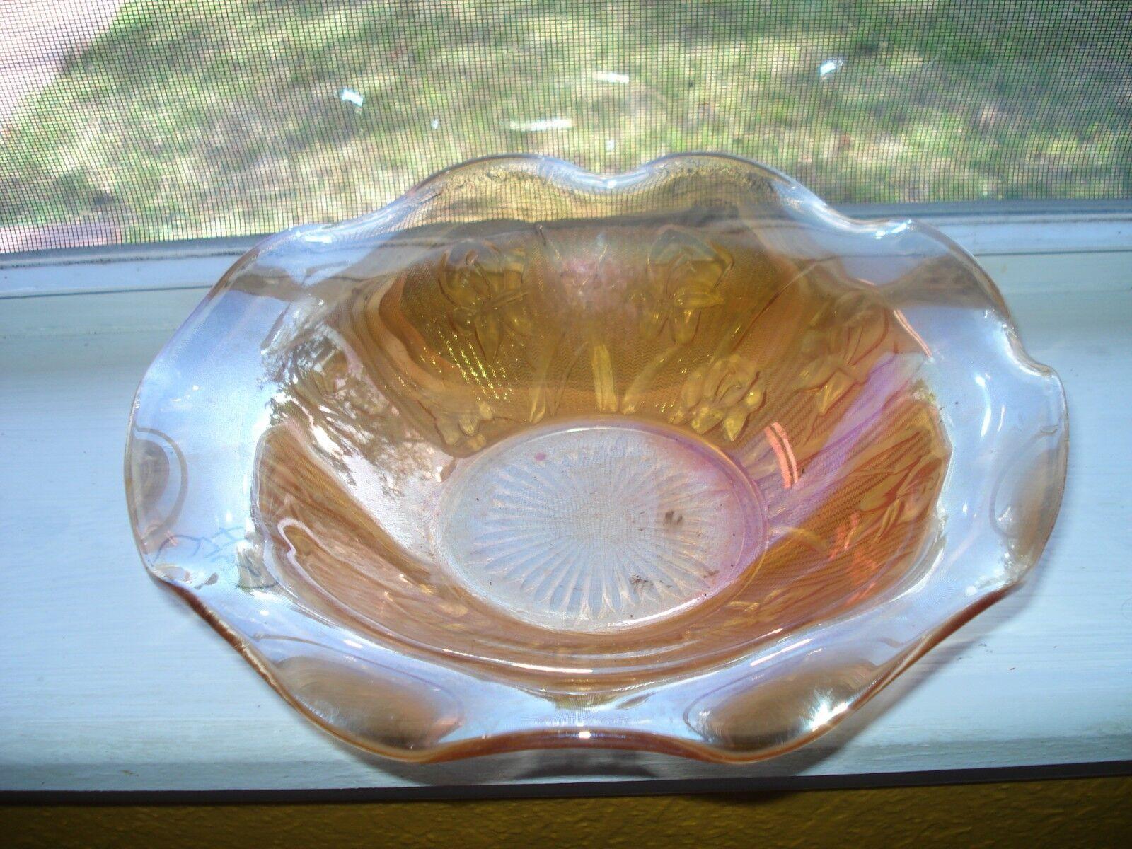 DEPRESSION GLASS IRIDESCENT IRIS AND HERRINGBONE RUFFLED BOWL.....NICE  - $9.99