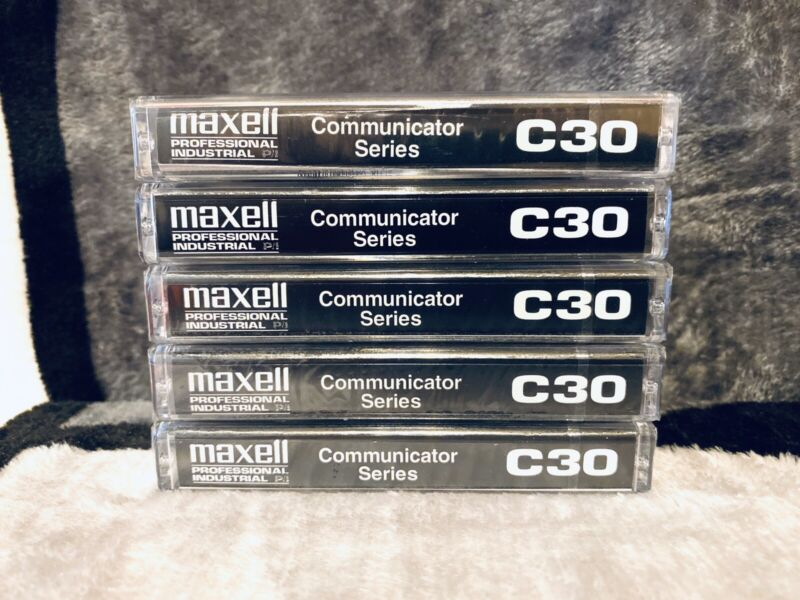 Maxell Communicator Series, C30 Cassette Tapes, Lot of 5