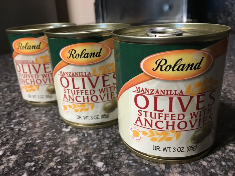 Spanish Green Olives Stuffed With Anchovy By Roland 85g 3 Oz Dr. Wt. X 3 Cans