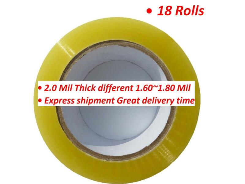18 Rolls Clear Packing Packaging Carton Sealing Tape 2.0 Mil Thick 2 x 110 Yards