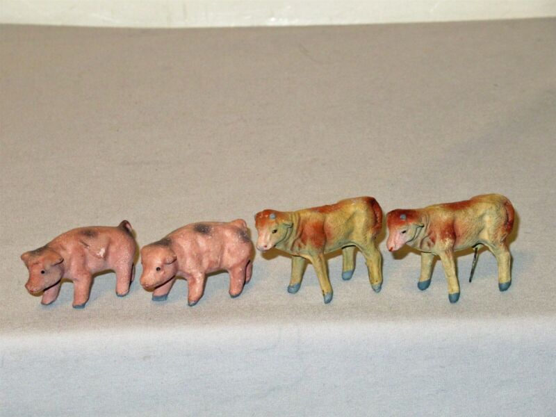 "Lot 4 Vtg Italy Xmas Putz Nativity 2"" chalk composition rod legs 2 pig 2 cow"