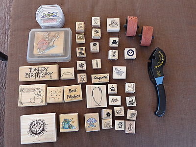 46 Piece Mixed Lot of Rubber Stamps - Stampin'Up, Dots, Fiskars & More