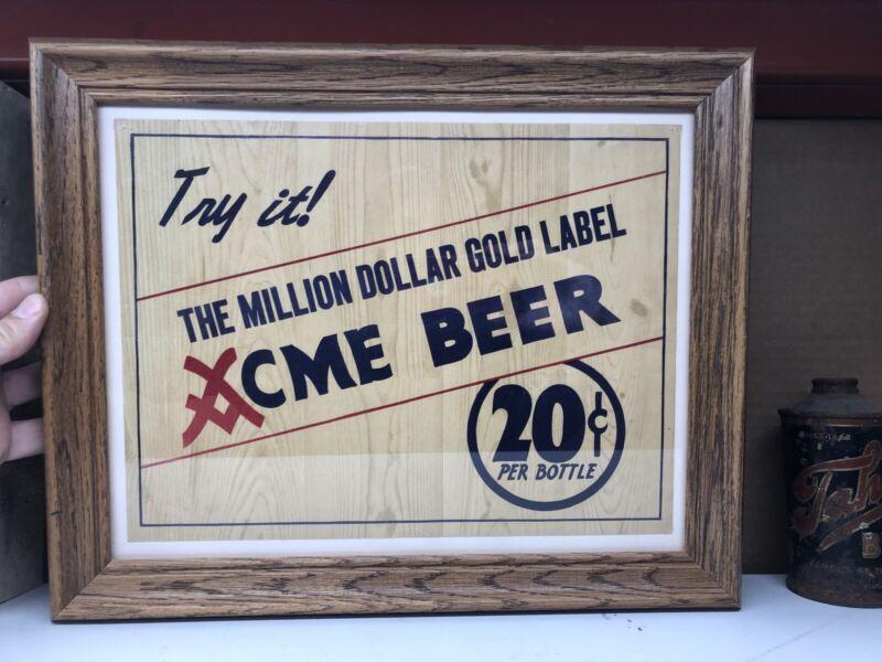 """Acme Beer Gold Label 20 Cent Bottle Cardboard Sign 1950's (13"""" X 10"""")"""