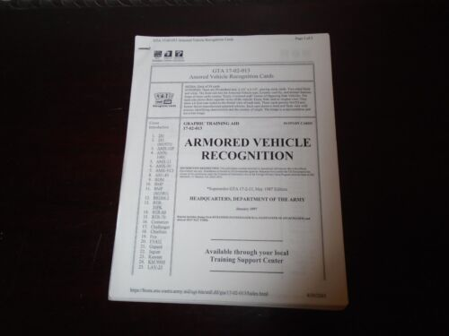 US Military Armored Vehicle Recognition Graphic Training Aid 51 Pages 1997 0-36