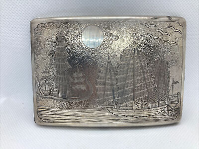 Vintage Japanese Sterling Silver Cigarette Case