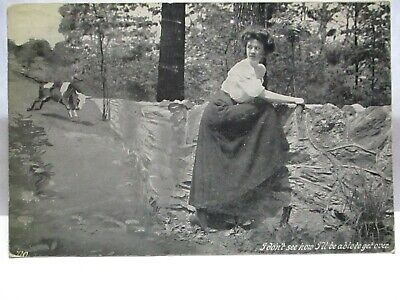 1910 POSTCARD I DON'T SEE HOW I'LL BE ABLE TO GET OVER -BULL CHASING LADY,WALL