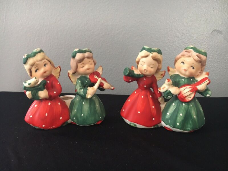 Set of 2 Musician Christmas Girl Angels Candle Holders Commodore Japan 1950s