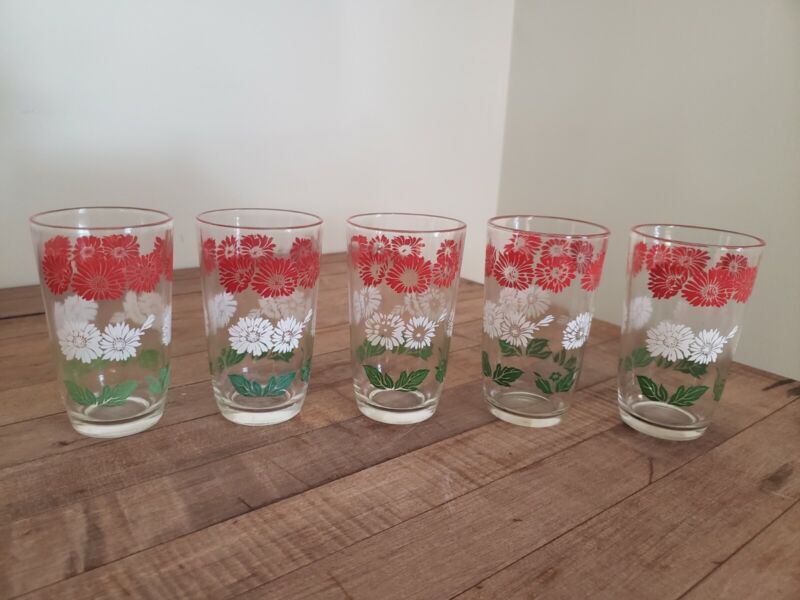 Vintage Swanky Swigs Set of 5 Juice Glasses - Red White Green Floral