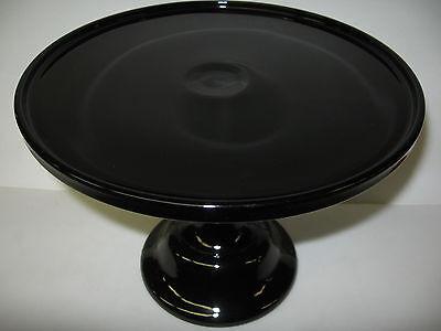Black amethyst Glass cake serving stand plate platter pedestal purple wedding 12