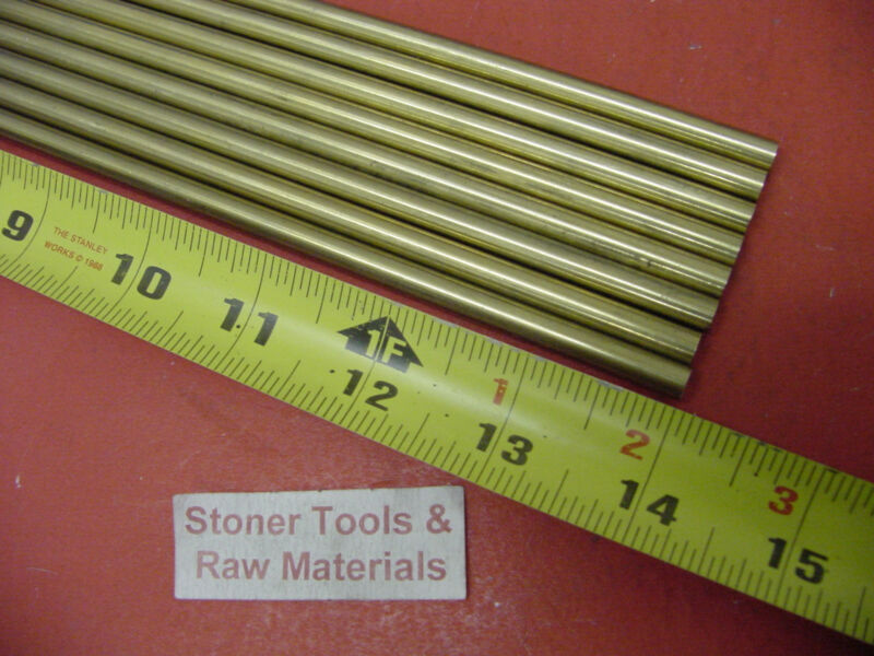 "8 Pieces of 3/16"" C360 BRASS SOLID ROUND ROD 14"" long .187"" Lathe Bar Stock"