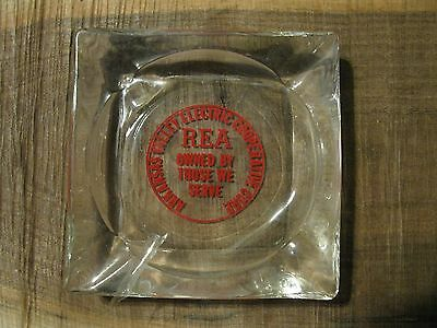 Vintage REA Electric Co-Op Corp. Arkansas Valley Clear Glass Advertising Ashtray