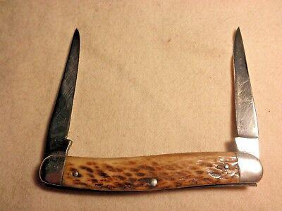 VINTAGE PRE WW2 REMINGTON USA MUSKRAT PATTERN POCKET KNIFE BONE HANDLES RARE