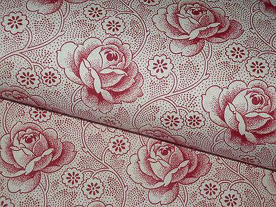 Antikes  Bauernstoff  Bauernbettwäsche -Stoff  Rote Rosen   80 cm / 50 cm   Neu